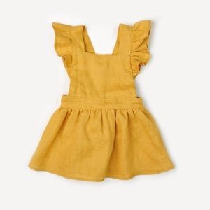 Fin And Vince Pinafore Dress In Marigold Yellow
